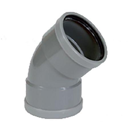 PVC grijs benor bocht 45° dia.110 2 mof