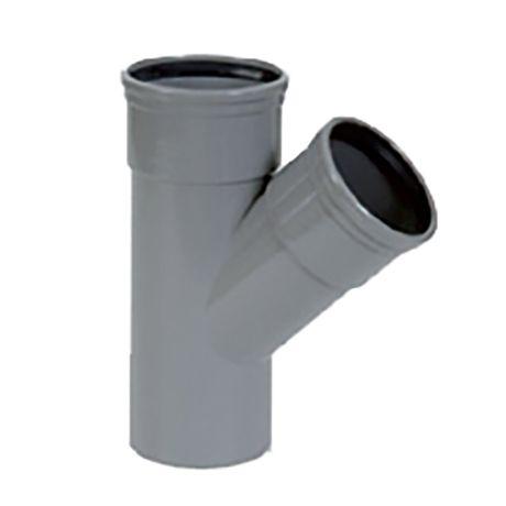 PVC grijs benor T-stuk 45° dia.160 2 mof