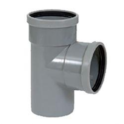 PVC grijs benor T-stuk 90° dia.110 2 mof