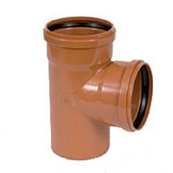 PVC roodbruin T-stuk 90° dia.125 2 mof