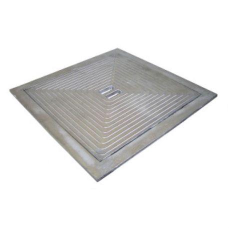 Deksel in aluminium met enkele bodem 500x500 mm