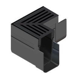 ACO Slimline hoekstuk aluminium rooster zwart