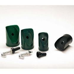 PVC schuine dop diam.48mm zwart inclusief bout