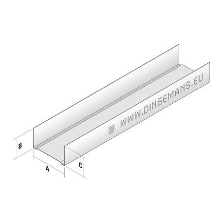 Wandprofiel horizontaal (U) 50mm - 4 m