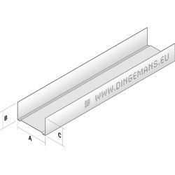 Metal stud wand horizontaal (U) 75mm - 4 m