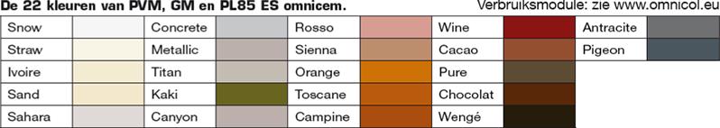 Omnicol OMNIFIX PVM, GM en PL85 omnicem kleuren